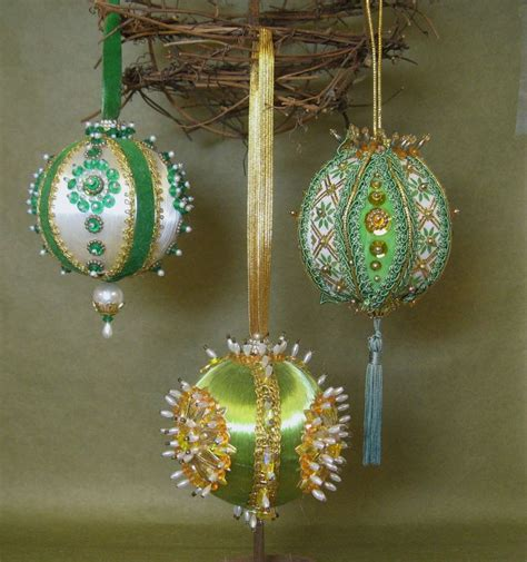Vintage Handmade Ornaments - vintage handmade ornaments kitschy heavy beaded
