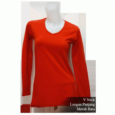 Kaos Warna Foto Cuatom Kaos Distro Lengan Panjang jual kaos polos cewek lengan panjang warna merah bata