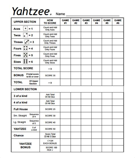 printable yahtzee score card best photos of print triple yahtzee scorecards free