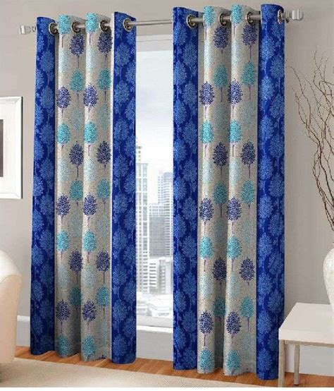 indian style curtains online fashion fab set of 2 door eyelet curtains printed blue