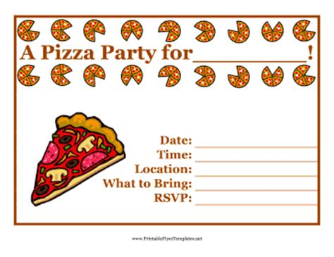 printable pizza party invitation template pizza party flyer