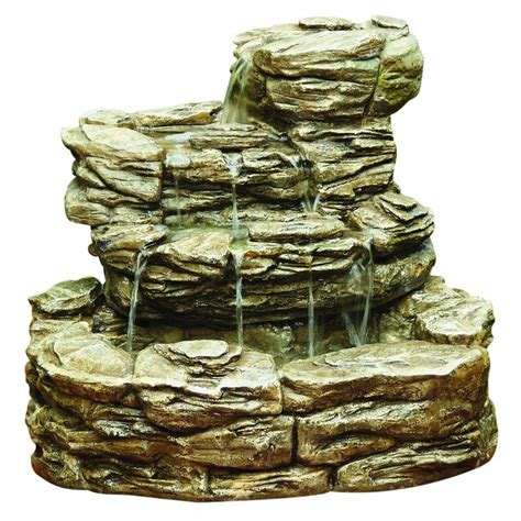 Faux Concrete Furniture by Hampton Bay Cement Rock Fountain 10856 The Home Depot