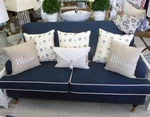 carlton sofa in navy linen and white piping exclusive to