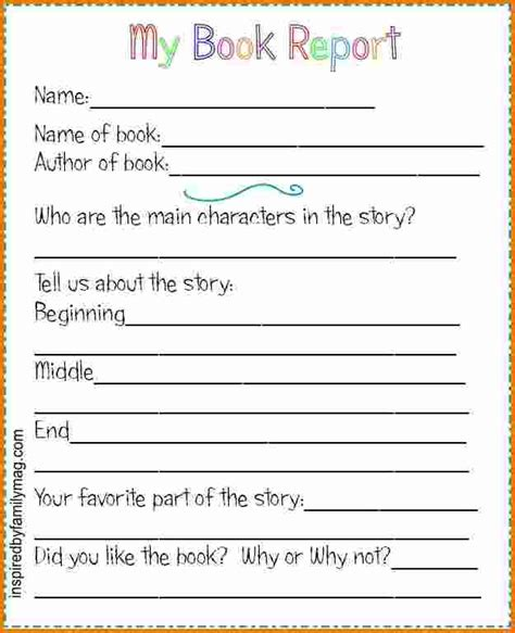 4 Book Report Template 2nd Grade Expense Report Third Grade Book Report Template