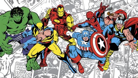 classic marvel wallpaper new xl classic marvel heroes prepasted wallpaper mural