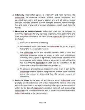 indemnification agreement  sample docsketch