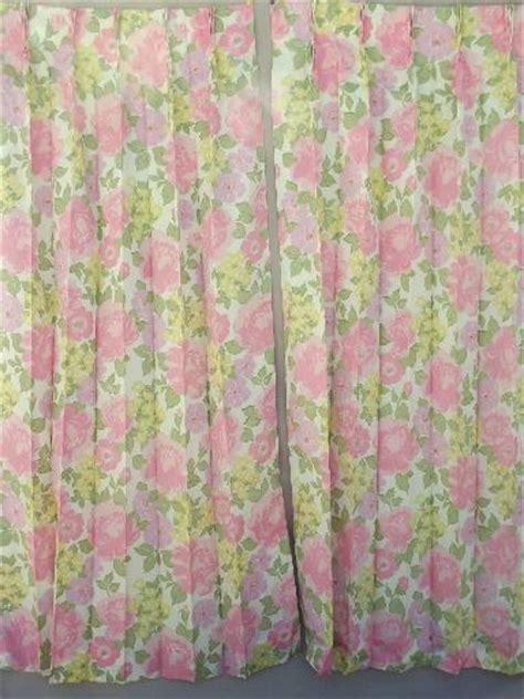 retro fabric curtains retro flowers curtain panels 60s 70s vintage taffeta