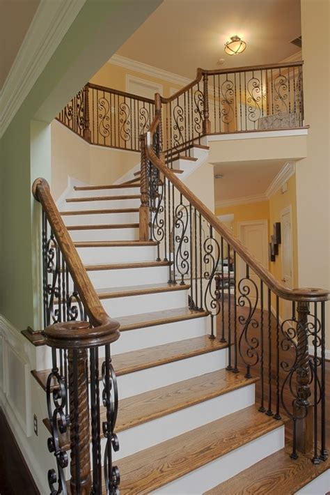 stairway banister iron stair rails with wood banister staircase railings