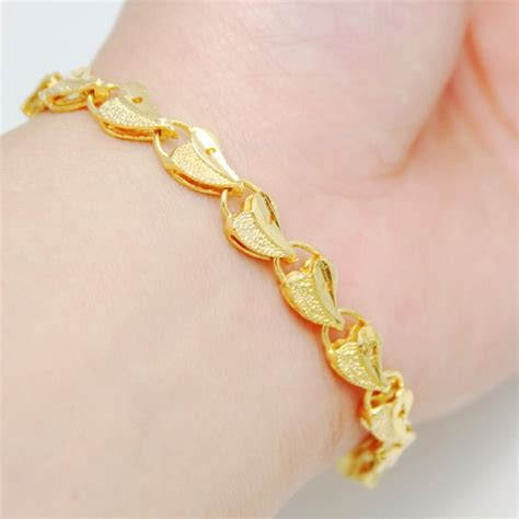 fashion 24k plated yellow gold bracelet 3 bag connected gold s bracelet alluvial