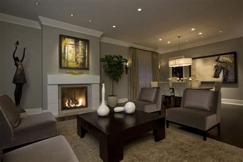 Taupe gray living room transitional with open floor plan polyester pillows and poufs