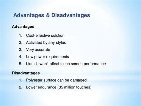 advantages and disadvantages of surface wiring touch screen technology