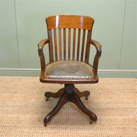 Quality Edwardian Oak Antique Swivel Office Chair Antique Desk Chairs Swivel