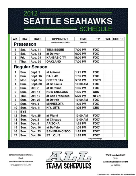 Seahawks Schedule 2018 Printable