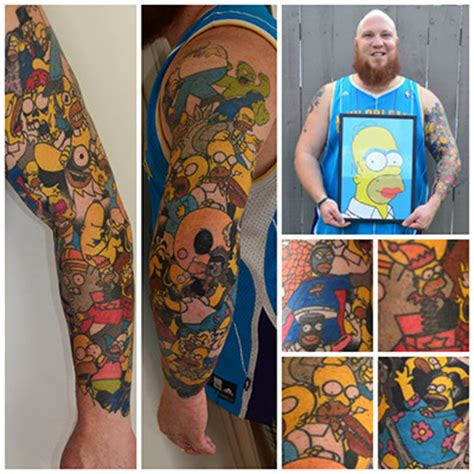 tattoo collage maker man sets world record for most tattoos of cartoon character