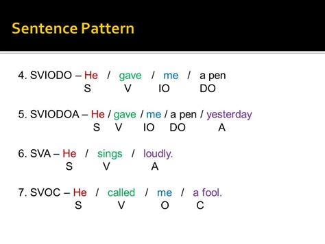 Sentence Pattern For Svoc | x standard english i prepared by r rajendran m sc m