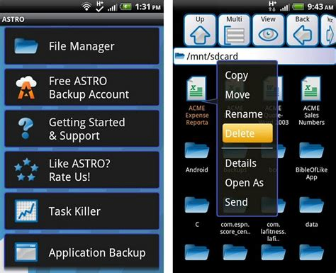 android app manager astro file manager 183 android mobiles