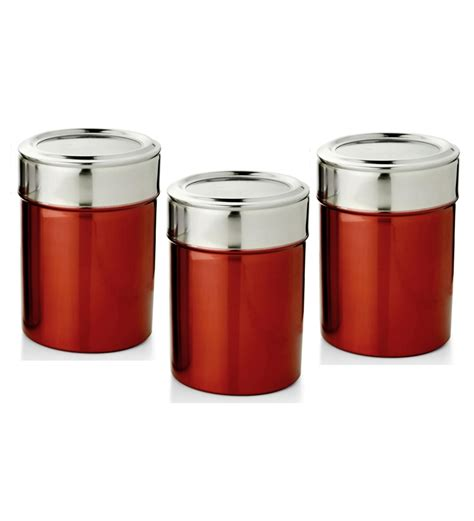 red kitchen canisters set ihomes set of 3 canisters red by ihomes online