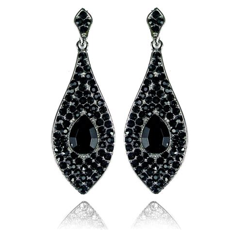 Black Earrings classic teardrop earrings black teardrop