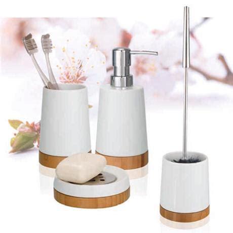 Wenko Bamboo Ceramic Bathroom Accessories Set At Victorian Bamboo Bathroom Accessories Set