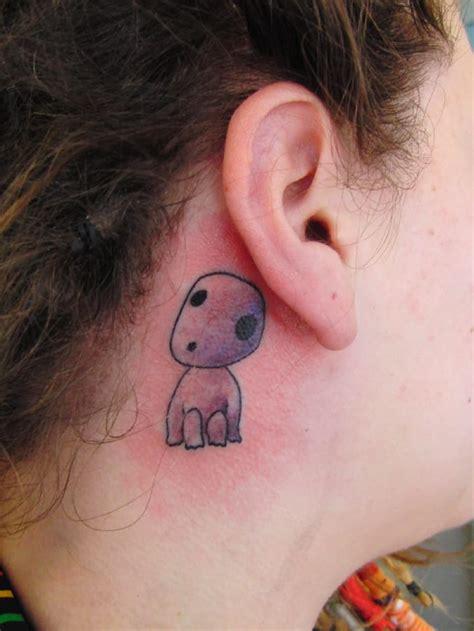 circle tattoo behind ear 40 fun and adorable ghibli tattoos tattoodo