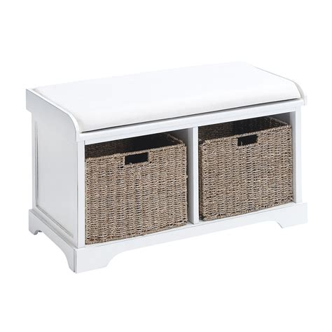 Storage Bench With Baskets Woodland Imports Wood Basket Bench With Storage Capacity White Indoor Benches At Hayneedle