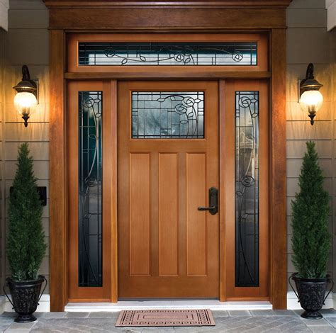 Exterior Door With Transom Decorative Exterior Door Four Square With Sidelights And Transom Motiq Home