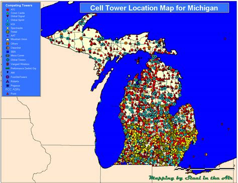cell tower map sprint coverage map michigan michigan map
