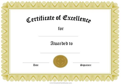Certificate Of Excellence Template formal award certificate templates