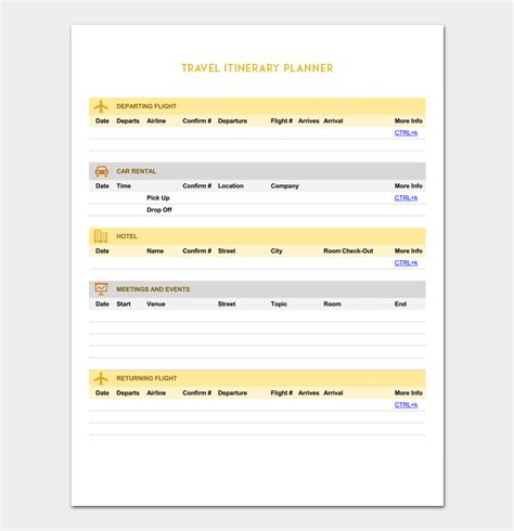 travel itinerary planner template vacation itinerary template 5 planners for word doc