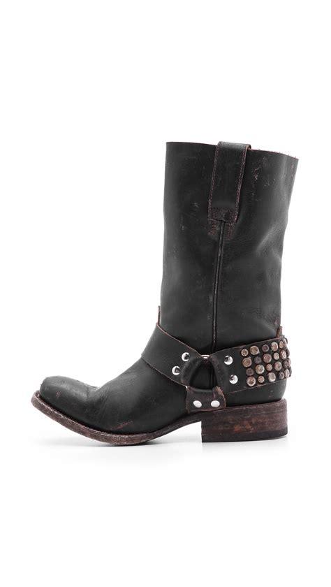 black moto boots lyst freebird by steven thompson studded moto boots in black