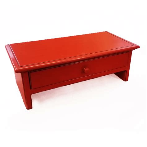 Small Desk Red Small Red Computer Monitor Stand And Desk Organizer With