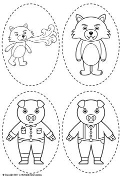 the three pigs puppet templates three pigs puppets by early learning tpt