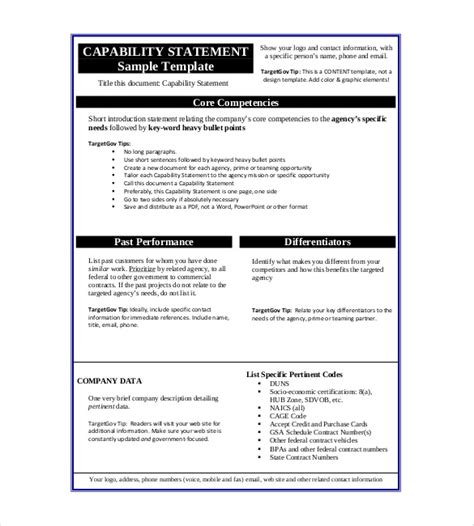capability statement template statement template 17 free word excel pdf indesign