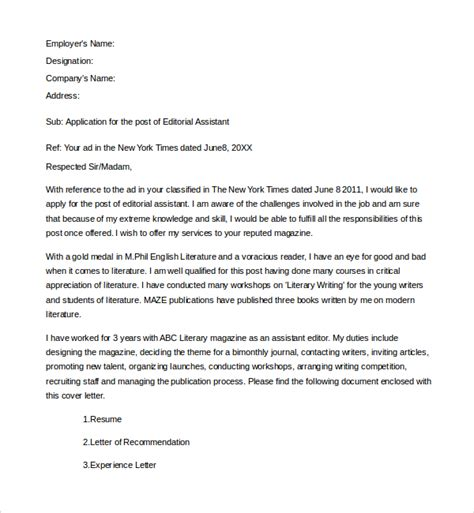 cover letter for editorial assistant sle editorial assistant cover letter template 6 free