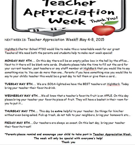 letter to parents appreciation week appreciation week schedule yahoo image search