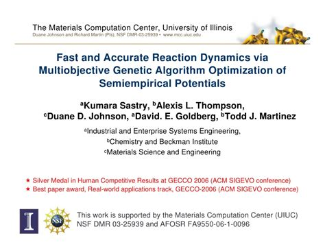 1 an empirical approach for optimization of acoustic fast and accurate reaction dynamics via multiobjective
