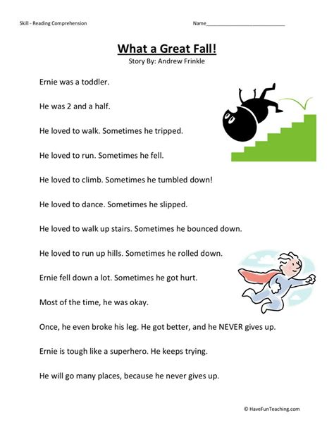 free printable reading comprehension worksheets second grade reading comprehension worksheet what a great fall