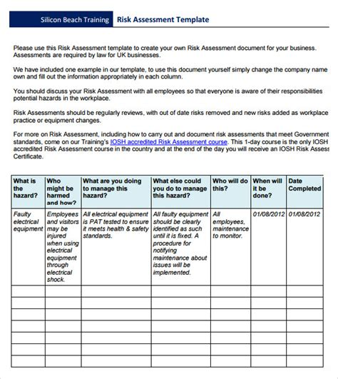 business risk assessment template risk assessment 9 free for pdf word excel