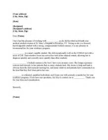 Cover Letter Residency by Recommendation Letter Sle For Residency Cover