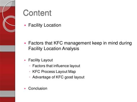 kfc facility layout operation management presentation