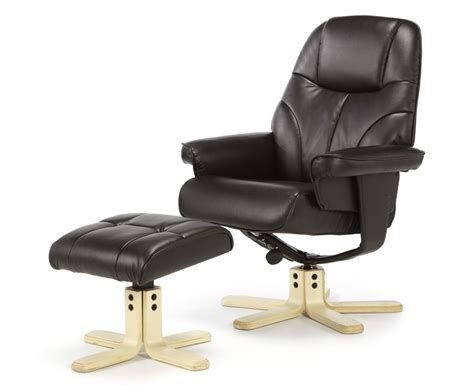 Brown Leather Recliner Chair And Stool by Rosenberg Brown Faux Leather Recliner Chair And Stool