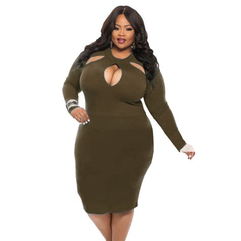 Clubbing Dress plus size dress solid sleeve bodycon dress hollow out clubbing wear kf5010mk 8 13