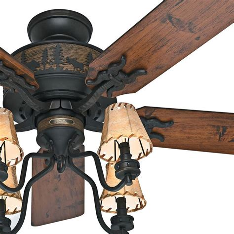 lodge style ceiling fans hunter 52 quot brittany bronze rustic cabin ceiling fan w 4