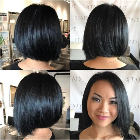 black medium length hairstyles s black sleek bob with slight angle medium length