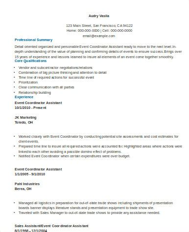 sle resume assistant event coordinator 8 sle event coordinator resumes in word pdf sle