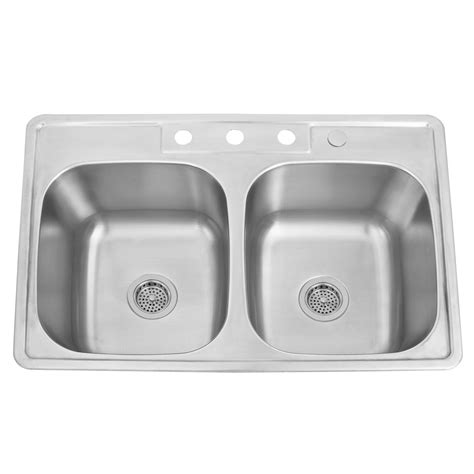 drop in stainless steel kitchen sinks 33 quot infinite double bowl stainless steel drop in 9