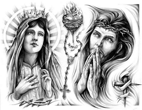 virgin mary sacred heart n jesus tattoo design tattoos