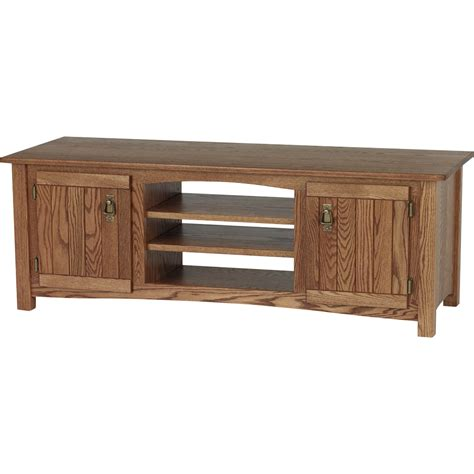 Oak Tv Cabinets by Solid Oak Mission Style Tv Stand W Cabinet 60 Quot The Oak