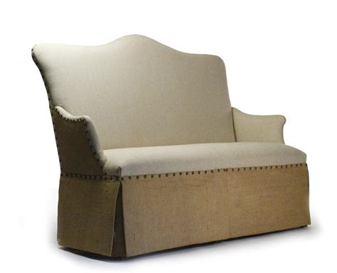 banquette settee french country jute linen skirted dining settee banquette