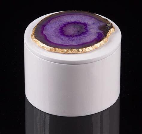 geode ring box purple agate geode slice w gold trim gemstone white